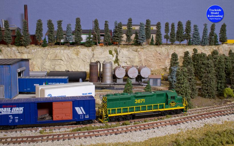 Trackside Model Railroading Blue Arrow Lines in HO Scale.