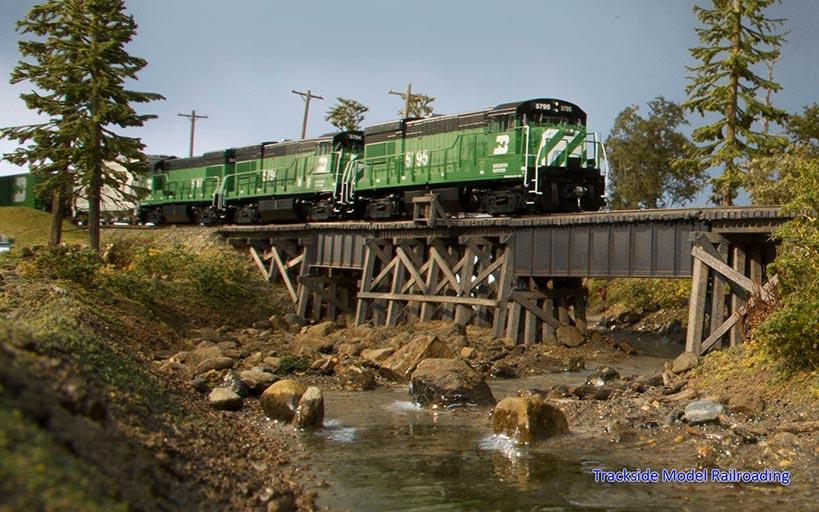 Trackside Model Railroading Burr Stewart's HO Scale Burr-lington Northern layout