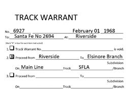 Track warrants download for your moadle railroad
