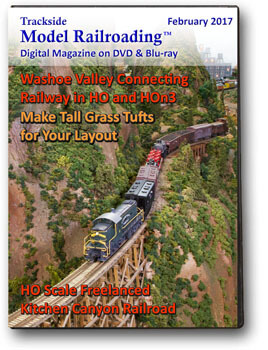 Trackside Model Railroading on DVD or Blu-ray featuring the followings: Ron Ippoliti models the freelanced Washoe Valley Connecting Railway, inspired by the Virginia & Truckee and modeled in HO and HOn3. Second feature is Dan Allen's Kitchen Canyon Railroad in HO scale.