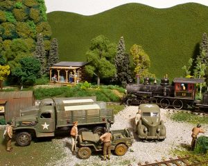 Model Railroad On30 world war II era with steam trains based on the ET&WNC.